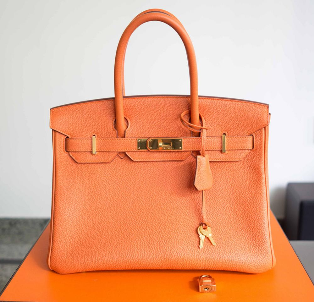 197a1fa3182b How to Spot a Fake Hermes Birkin 30 Togo Leather Bag Orange ...