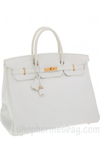 03b9c42d8d Hermes 40cm Birkin Bag Replica White Clemence Leather with Gold Hardware