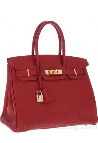 98ff5ae441a8 Hermes 30cm Birkin Bag Replica Rouge Garance Clemence Leather with Gold  Hardware