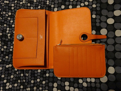 681883a8691a Orange Leather Hermes Dogon Wallet Replica Sale Online - Quality ...