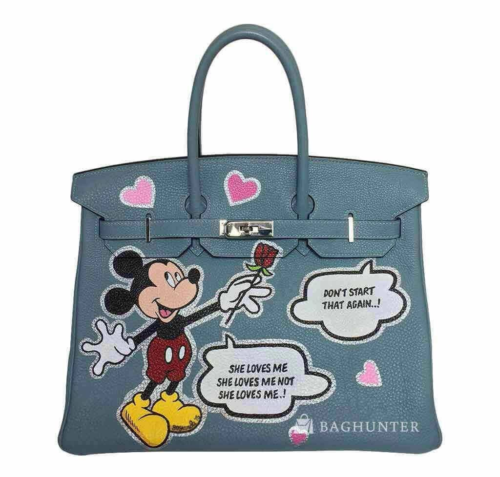477424232315 New Style Hermes Birkin 35cm Custom Painted Mickey Mouse Bag Replica ...