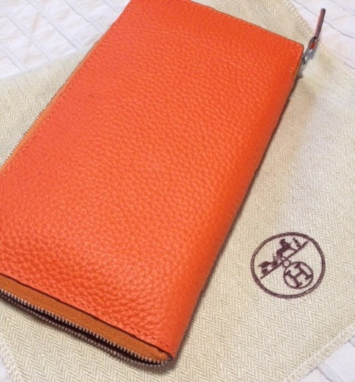 01d2bbd830ed Orange leather hermes azap combined wallet replica online. Hermes Azap  Wallet