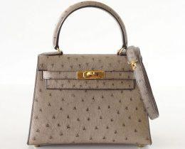 Grey Ostrich Vintage Hermes 20cm Mini Kelly