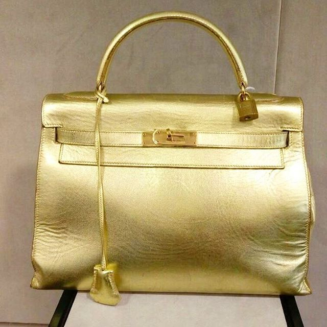 Hermes Kelly Metallic Gold Bag